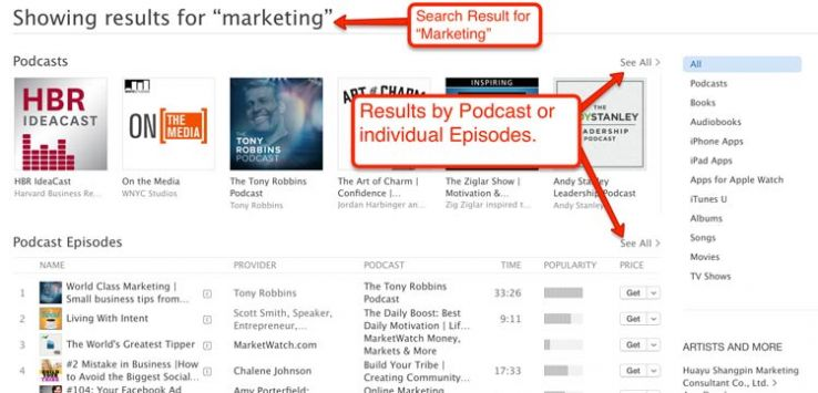 "iTunes search results for ""marketing."""