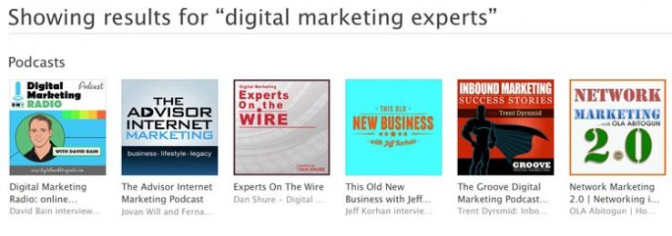 "iTunes results for ""digital marketing experts."""