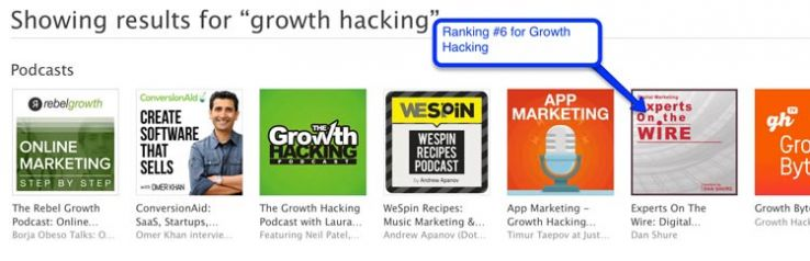 "iTunes results for ""growth hacking"""