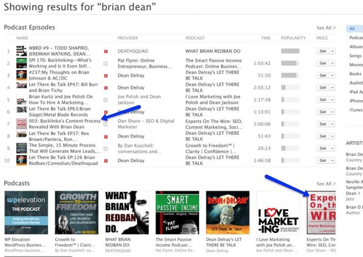 Itunes results for Brian Dean