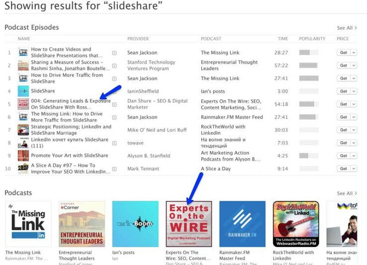 iTunes results for slideshare