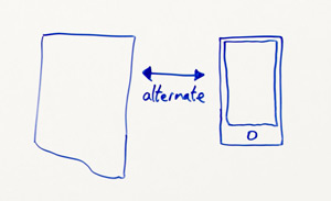 "Close-up of whiteboard: a normal desktop page on the left with a two-sided arrow with ""alternate"" written underneath, a drawing of a mobile phone to the right"