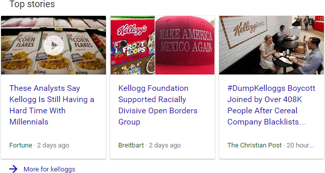 this is a bit of a grey area while the kelloggs boycott story is certainly newsworthy and breitbarts announcement is the source of that boycott
