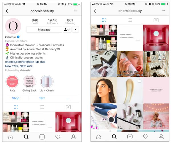 screen shot 2018 04 15 at 9 339949 - Cách sử dụng Instagram như một thương hiệu làm đẹp
