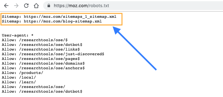 Mapa do site no robots.txt
